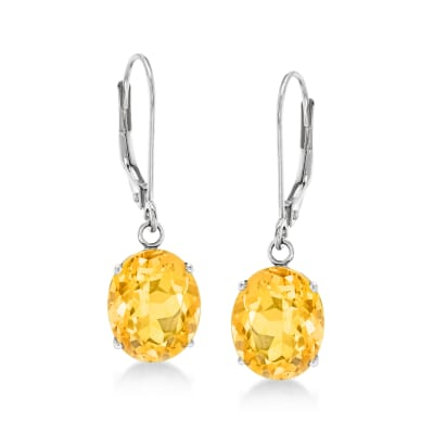 4.80 ct. t.w. Citrine Drop Earrings in 14kt White Gold