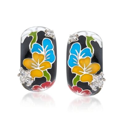 """Belle Etoile """"Constellations: Sakura"""" Multicolored Enamel and .25 ct. t.w. CZ Half-Hoop Earrings in Sterling Silver"""