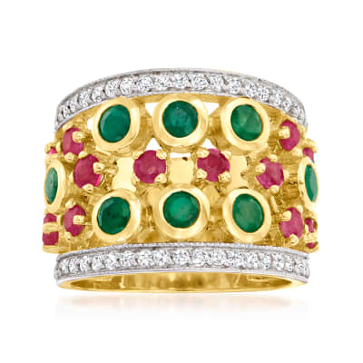 1.60 ct. t.w. Emerald and .60 ct. t.w. Ruby Ring with .30 ct. t.w. White Zircon in 18kt Gold Over Sterling