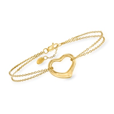 14kt Yellow Gold Heart Bracelet