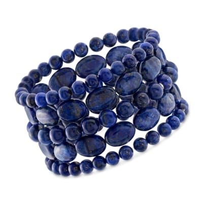 Lapis Jewelry Set: Five Bead Stretch Bracelets