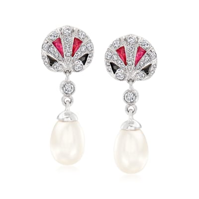 C. 2000 Vintage Cultured Pearl and .50 ct. t.w. Diamond Drop Earrings with .35 ct. t.w. Multi-Gemstones in 18kt White Gold