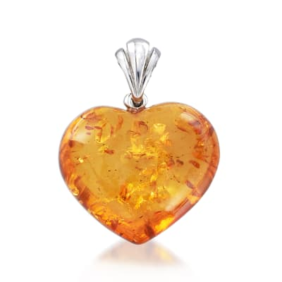 Amber Heart Pendant in Sterling Silver