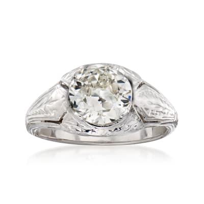 C. 2000 Vintage 1.31 Carat Certified Diamond Ring in 18kt White Gold