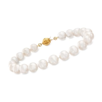 7-7.5mm Cultured Pearl Bracelet with 14kt Yellow Gold