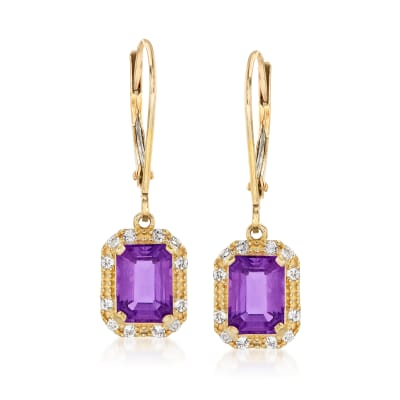 1.80 ct. t.w. Amethyst and .20 ct. t.w. White Topaz Drop Earrings in 14kt Yellow Gold