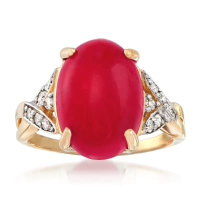 Red Coral and .15 ct. t.w. Diamond Ring in 18kt Yellow Gold