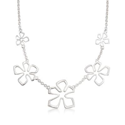 "Zina Sterling Silver Five ""Tiki Flower"" Necklace"