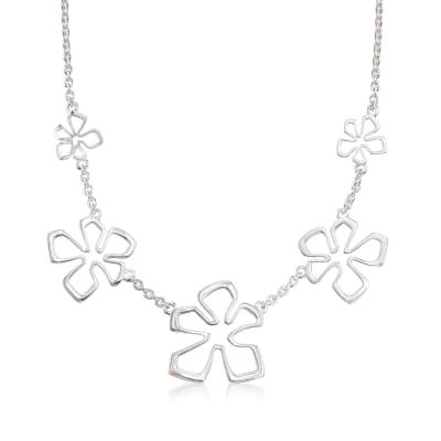 "Zina Sterling Silver Five ""Tiki Flower"" Necklace"