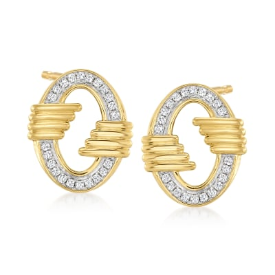 .33 ct. t.w. Diamond Vintage-Style Earrings in 18kt Gold Over Sterling with Sterling Silver