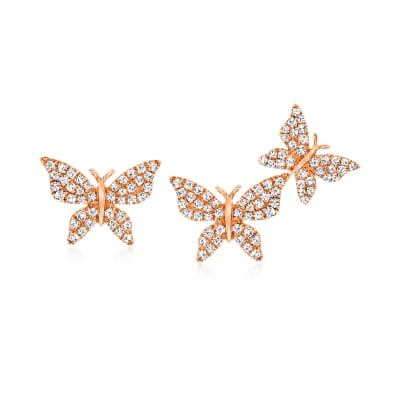 .35 ct. t.w. Diamond Butterfly Mismatched Earrings in 14kt Rose Gold