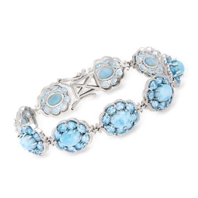 Larimar and 9.25 ct. t.w. Swiss Blue Topaz Bracelet in Sterling Silver