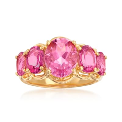 4.58 ct. t.w. Pink Topaz Five-Stone Ring in 18kt Gold Over Sterling