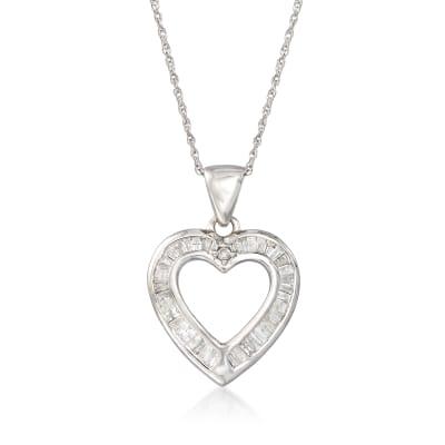 .25 ct. t.w. Diamond Open-Space Heart Pendant Necklace in Sterling Silver