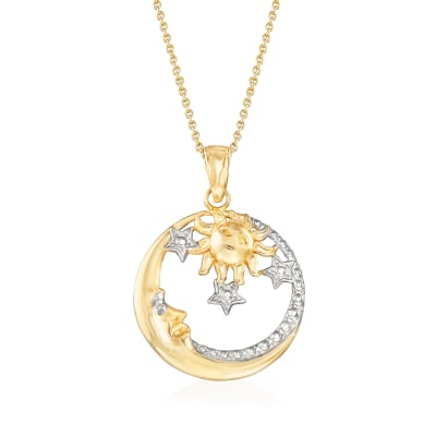 14kt Two-Tone Gold Sun, Moon and Stars Pendant Necklace