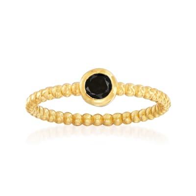 "Phillip Gavriel ""Popcorn"" .20 Carat Black Spinel Beaded Ring in 14kt Yellow Gold"