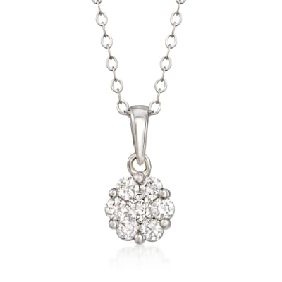 .34 ct. t.w. Diamond Floral Cluster Pendant Necklace in 14kt White Gold