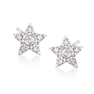 Star Earrings with Diamond Accents in 14kt White Gold