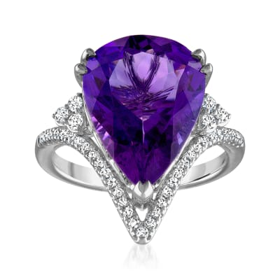 6.25 Carat Amethyst Ring with .26 ct. t.w. Diamonds in 14kt White Gold