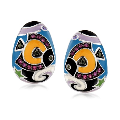 "Belle Etoile ""Under the Sea"" Multicolored Enamel and .41 ct. t.w. CZ Hoop Earrings in Sterling Silver"