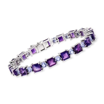 17.00 ct. t.w. Amethyst and 3.90 ct. t.w. Tanzanite Bracelet in Sterling Silver