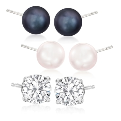 7-7.5mm Multicolored Cultured Pearl and .94 ct. t.w. CZ Jewelry Set: Three Pairs of Stud Earrings in Sterling Silver