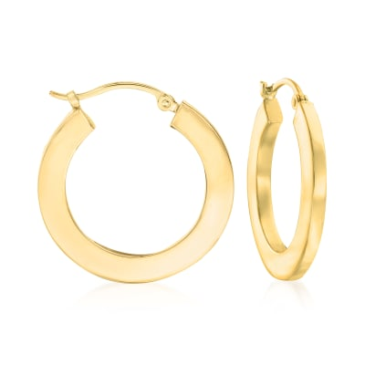 14kt Yellow Gold Flat Hoop Earrings