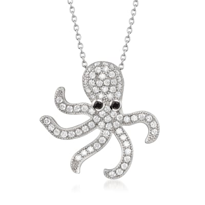 2.10 ct. t.w. CZ Octopus Pendant Necklace in Sterling Silver
