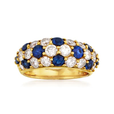 C. 1980 Vintage 1.57 ct. t.w. Diamond and 1.27 ct. t.w. Sapphire Dome Ring in 18kt Yellow Gold