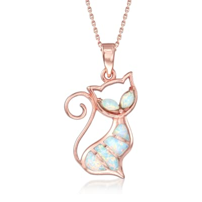 Synthetic Opal Cat Pendant Necklace in 18kt Rose Gold Over Sterling Silver