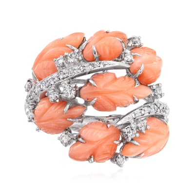 C. 1980 Vintage Pink Coral Leaf Ring with .50 ct. t.w. Diamonds in 18kt White Gold