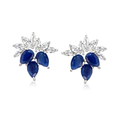 3.50 ct. t.w. Sapphire and 1.50 ct. t.w. White Topaz Earrings in Sterling Silver