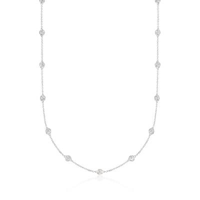 2.00 ct. t.w. Bezel-Set Diamond Station Necklace in 14kt White Gold