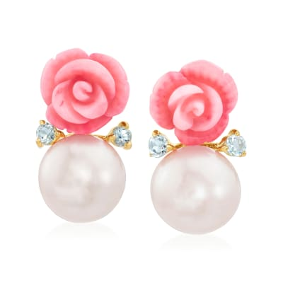 12-12.5mm Cultured Pearl, Pink Coral and .50 ct. t.w. Blue Topaz Rose Drop Earrings in 14kt Gold Over Sterling