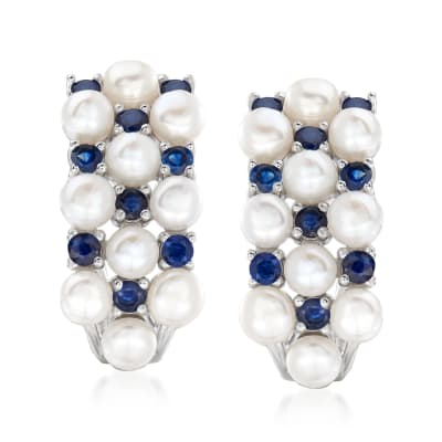 3mm Cultured Pearl and .90 ct. t.w. Sapphire Earrings in Sterling Silver