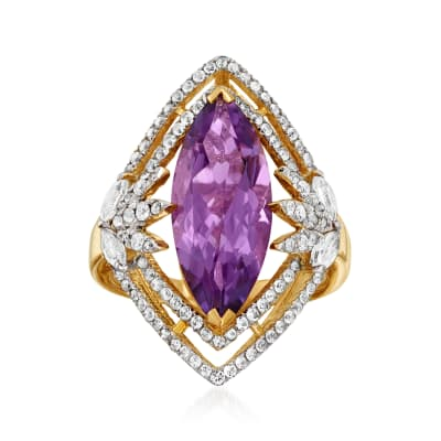 4.75 Carat Amethyst and .94 ct. t.w. White Topaz Ring in 18kt Gold Over Sterling