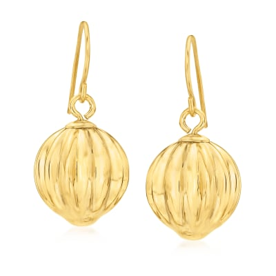 Italian Andiamo 14kt Yellow Gold Over Resin Fluted Ball Drop Earrings