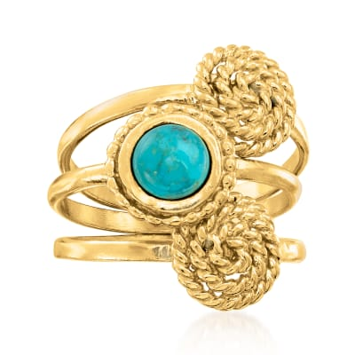 Turquoise and 18kt Gold Over Sterling Jewelry Set: Three Stackable Roped Rings