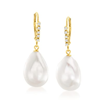 12-15mm Cultured Baroque Pearl and .10 ct. t.w. Diamond Drop Earrings in 14kt Yellow Gold
