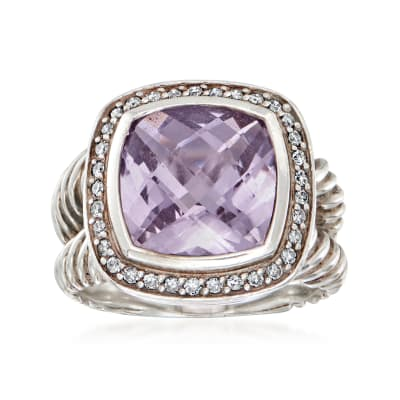 C. 1990 Vintage David Yurman 3.75 Carat Amethyst Ring with .30 ct. t.w. Diamonds in Sterling Silver