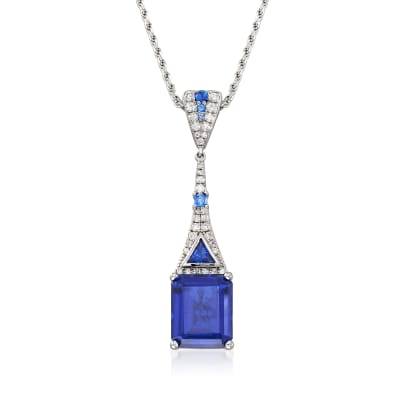 6.76 ct. t.w. Simulated Sapphire and .30 ct. t.w. CZ Drop Pendant Necklace in Sterling Silver