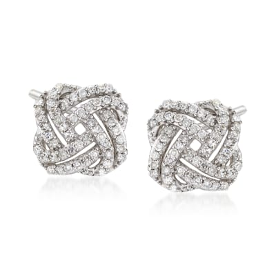 .33 ct. t.w. Diamond Squared Love Knot Stud Earrings in 14kt White Gold