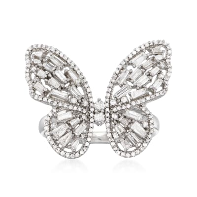 1.00 ct. t.w. Diamond Butterfly Ring in 14kt White Gold