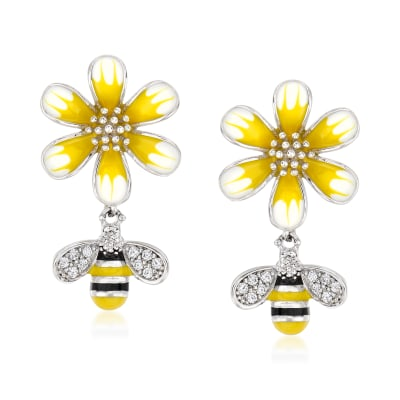 .10 ct. t.w. White Topaz Bumblebee and Flower Drop Earrings with Multicolored Enamel in Sterling Silver