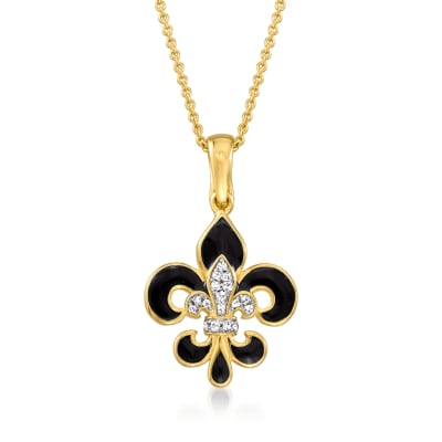 Black Enamel Fleur-De-Lis Pendant Necklace with White Topaz Accents in 18kt Gold Over Sterling