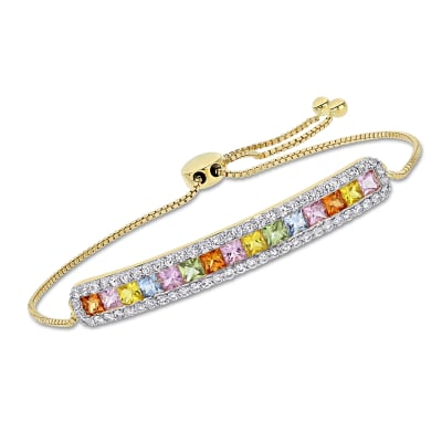 3.50 ct. t.w. Multicolored Sapphire Bar Bolo Bracelet in 14kt Yellow Gold