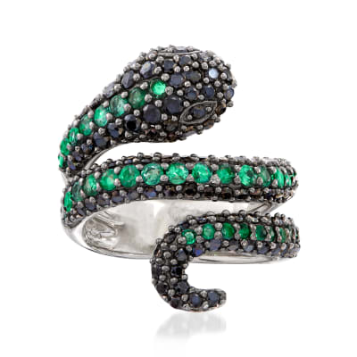 1.80 ct. t.w. Black Spinel and .90 ct. t.w. Emerald Snake Bypass Ring in Sterling Silver