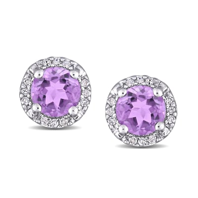.80 ct. t.w. Amethyst Earrings with Diamond Accents in Sterling Silver