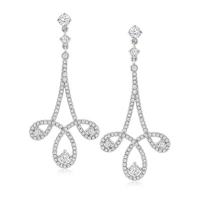 1.46 ct. t.w. Diamond Open-Space Drop Earrings in 18kt White Gold
