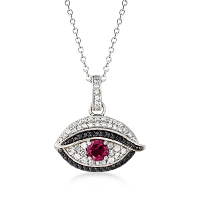 .50 Carat Rhodolite Garnet, .40 ct. t.w. White Zircon and .10 ct. t.w. Black Spinel Evil Eye Pendant Necklace in Sterling Silver